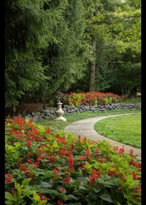 Curved bluestone path along rear landscape stone wall and annual flower beds in the landscape.