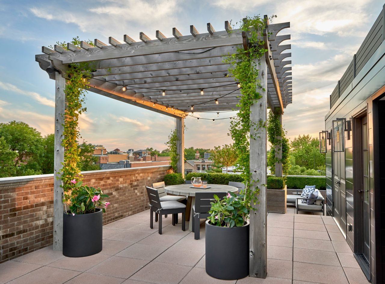 Chicago roof top terrace with a traditional wood pergola, climbing vines and seasonal containers.