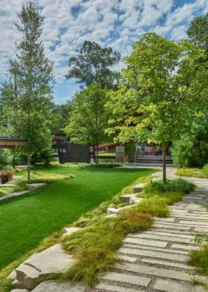 Irregular paved walkway with grass path