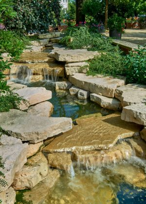 A natural creek with ledge rock outcropping waterfalls and low plants softening the edges.