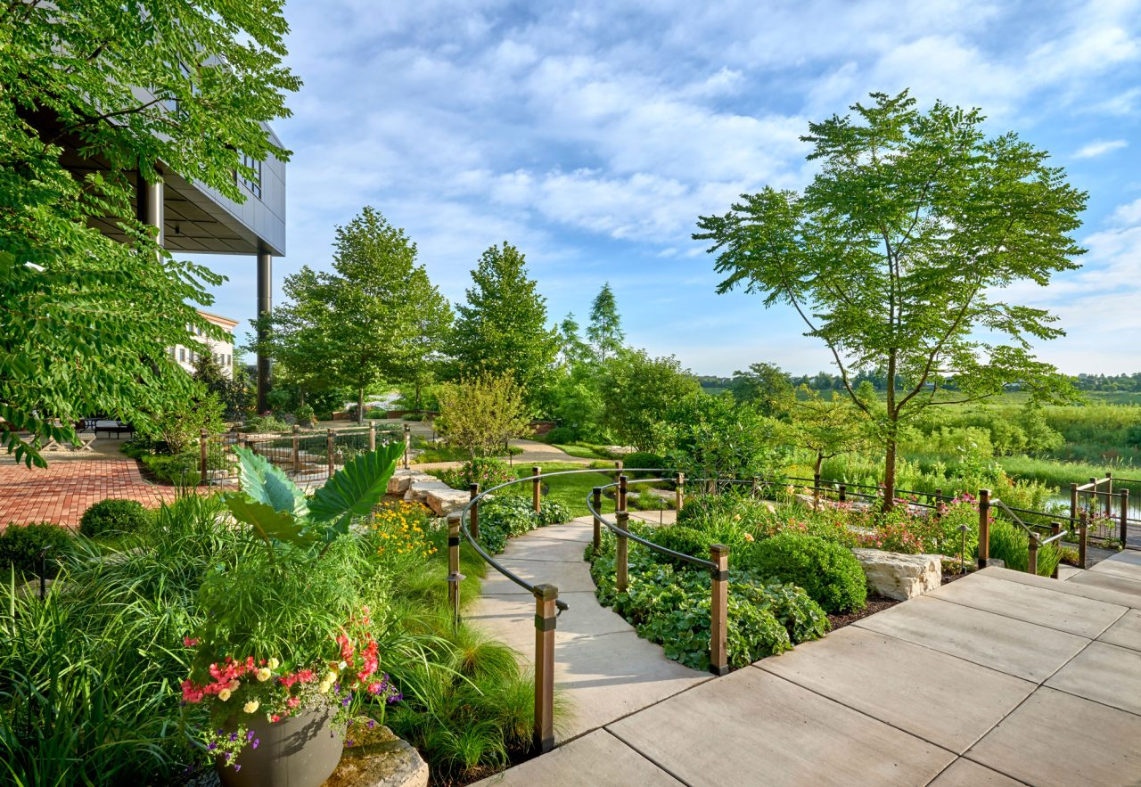 An award winning commercial landscape design with planned accessible walkways leading to various garden destinations.