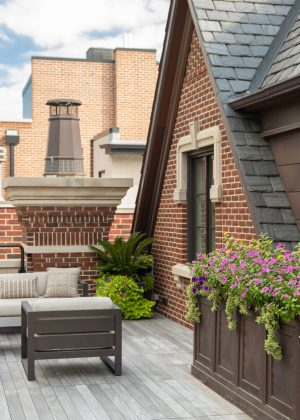 Chicago rooftop garden with flowers, palm trees, and beige outdoor sofa.