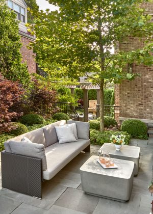 Comfortable seating area with Japanese Maples, Boxwoods, and Sycamore Tree.