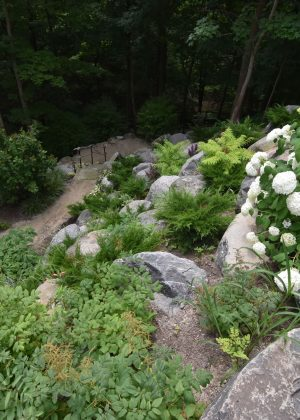 Bluff with hydrangeas, natural plants, granite boulders and rope railing