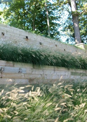 Timber walls on bluff surrounded by prarie grasses