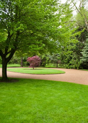 Gravel driveway with manicured lawn
