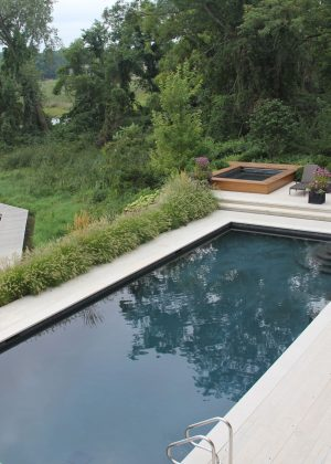 Contemporary rectangle pool with plank paving overlooking boardwalk