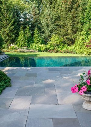 Zero edge pool guides your view to the lushly planted border
