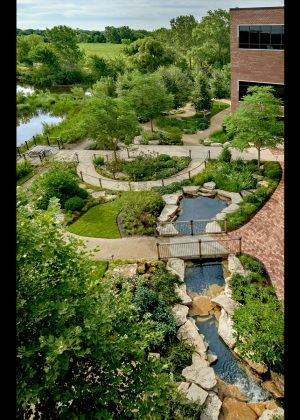 Aerial view of a healing garden including: fountani, multiple pathways, pond, and boulders