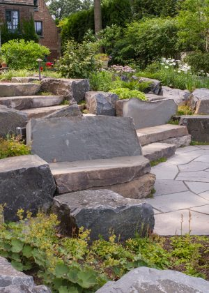 Rock garden featuring stone seating areas