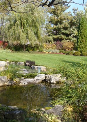 Pond with fire pit in background, mowed lawn surrounded by flower beds