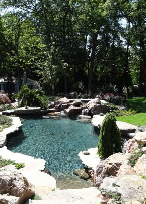 Naturalized pool with waterfall and boulder edges accented by sculpture and natural landscape