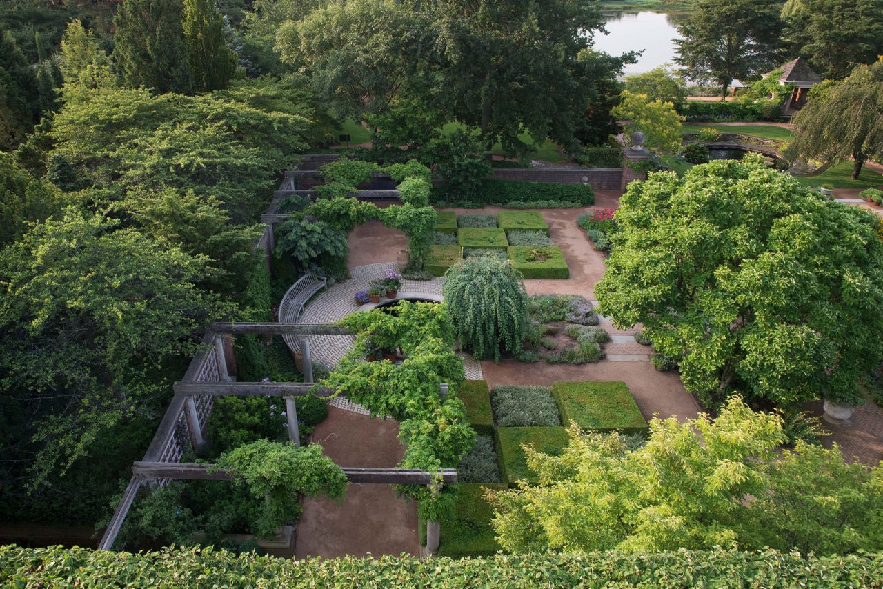 Aerial shot of English Walled Garden at Chicago Botanic Garden