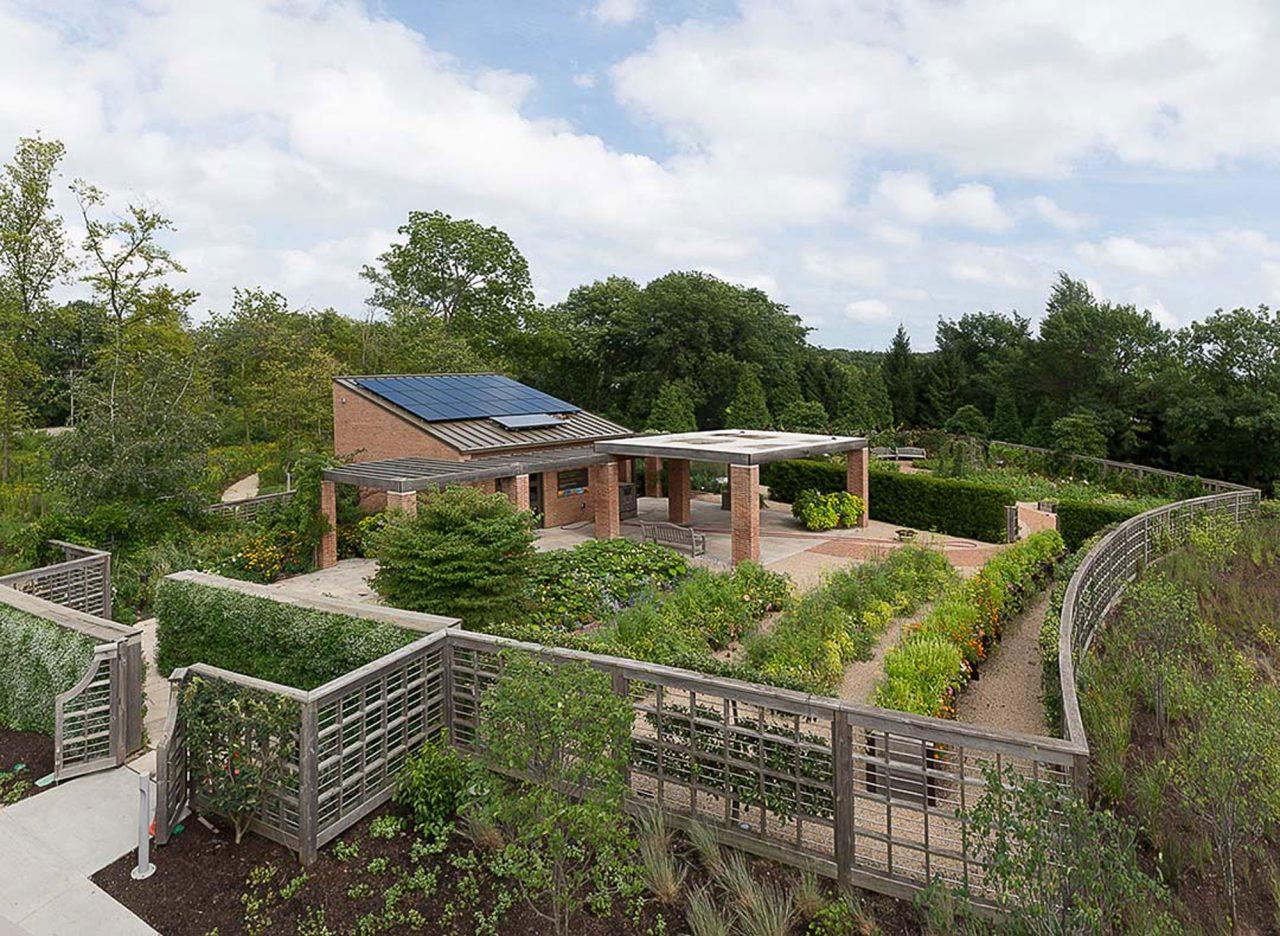 Aerial shot of Grunsfeld Children's Growing Garden at Chicago Botanic Garden